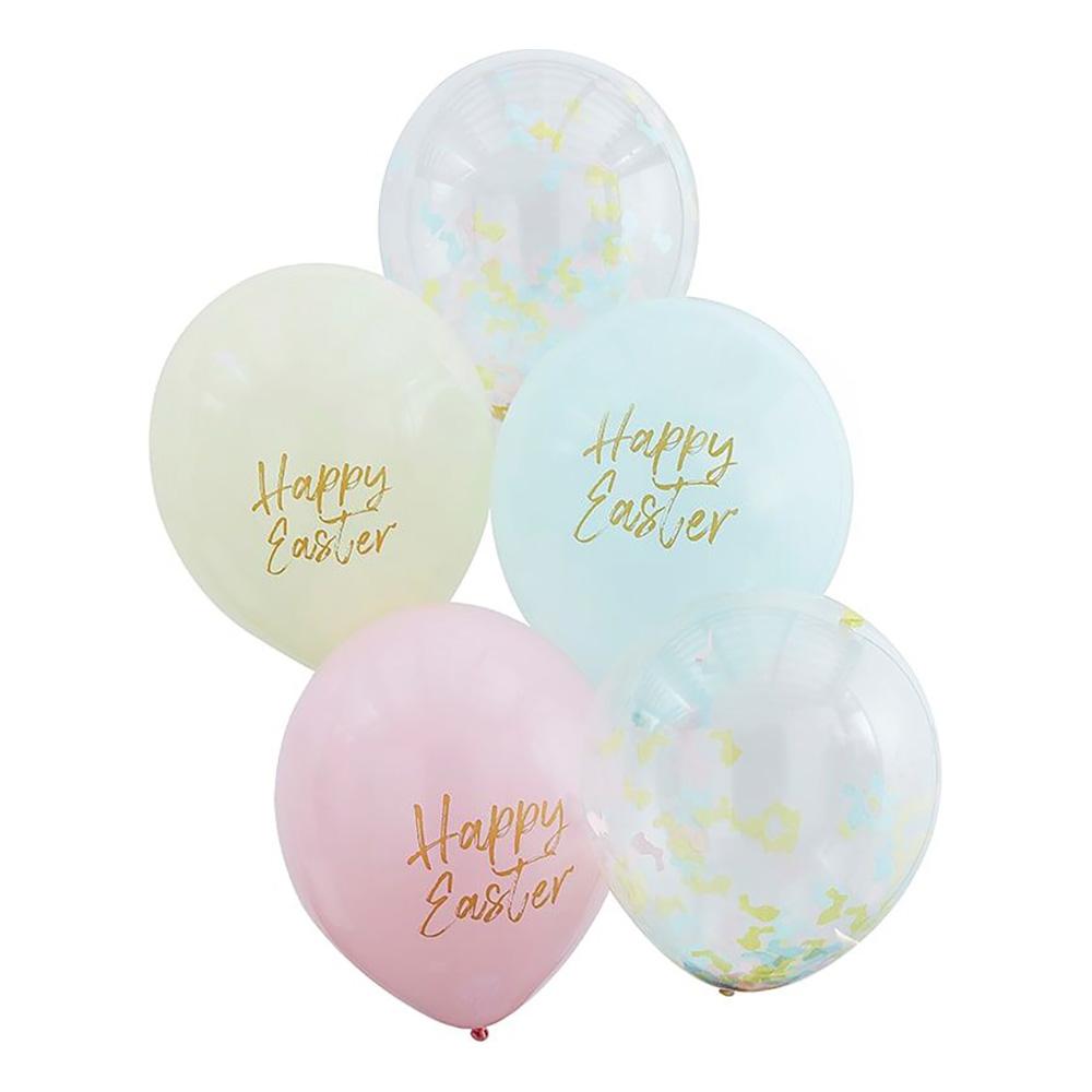 Latexballonger Happy Easter Pastell - 5-pack