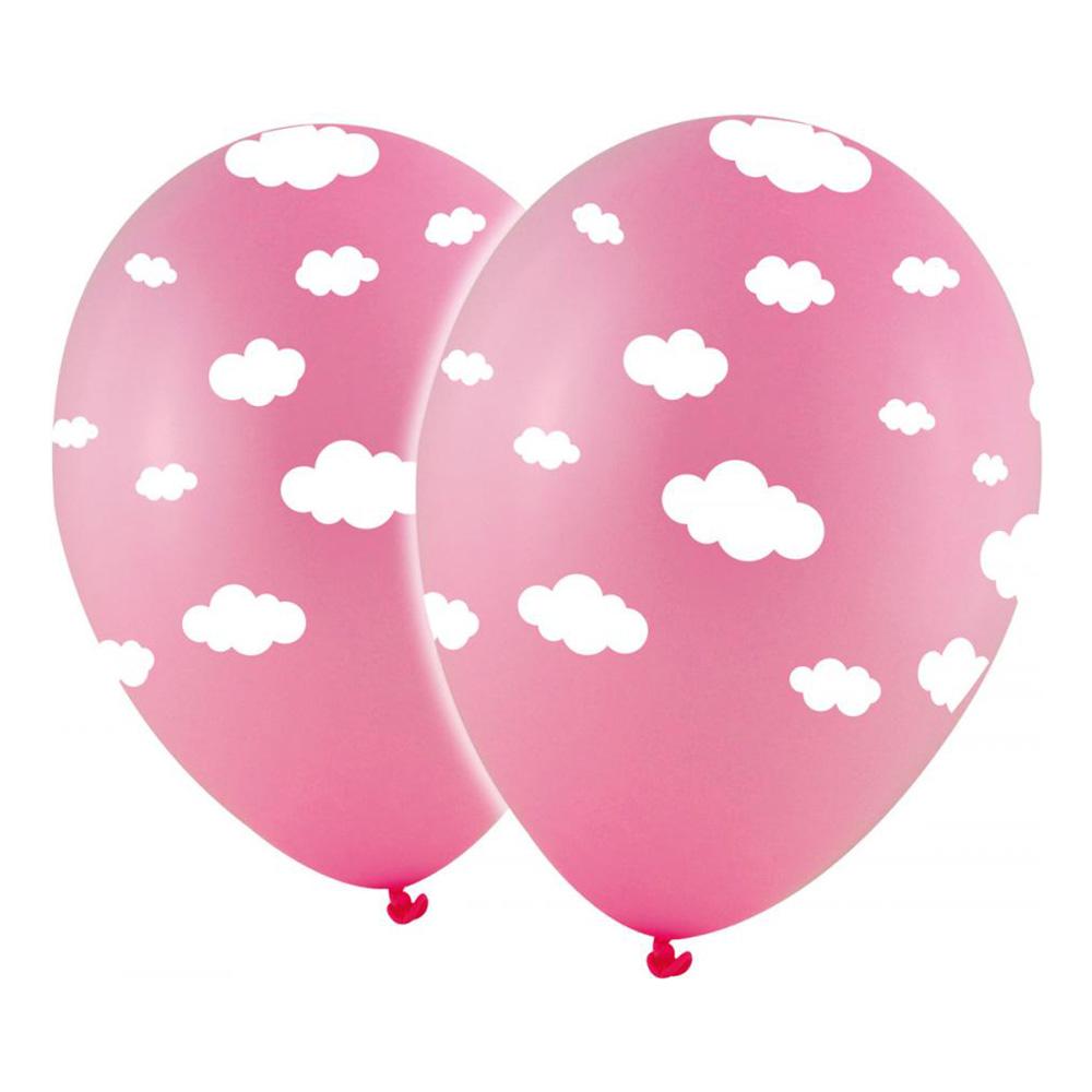 Latexballonger Rosa med Vita Moln - 10-pack