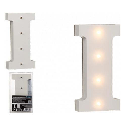 LED-Bokstav i Trä Vit - Bokstav I