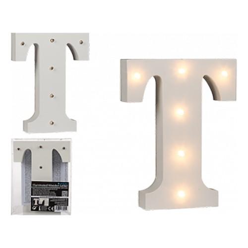 LED-Bokstav i Trä Vit - Bokstav T