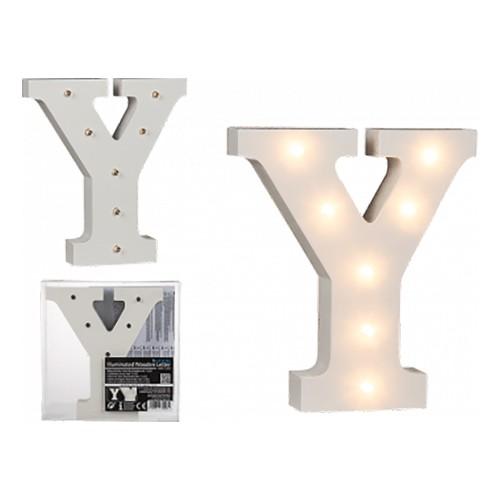 LED-Bokstav i Trä Vit - Bokstav Y