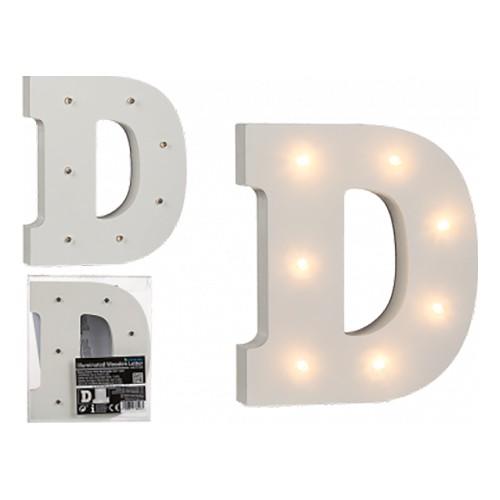 LED-Bokstav i Trä Vit - Bokstav D