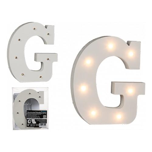 LED-Bokstav i Trä Vit - Bokstav G