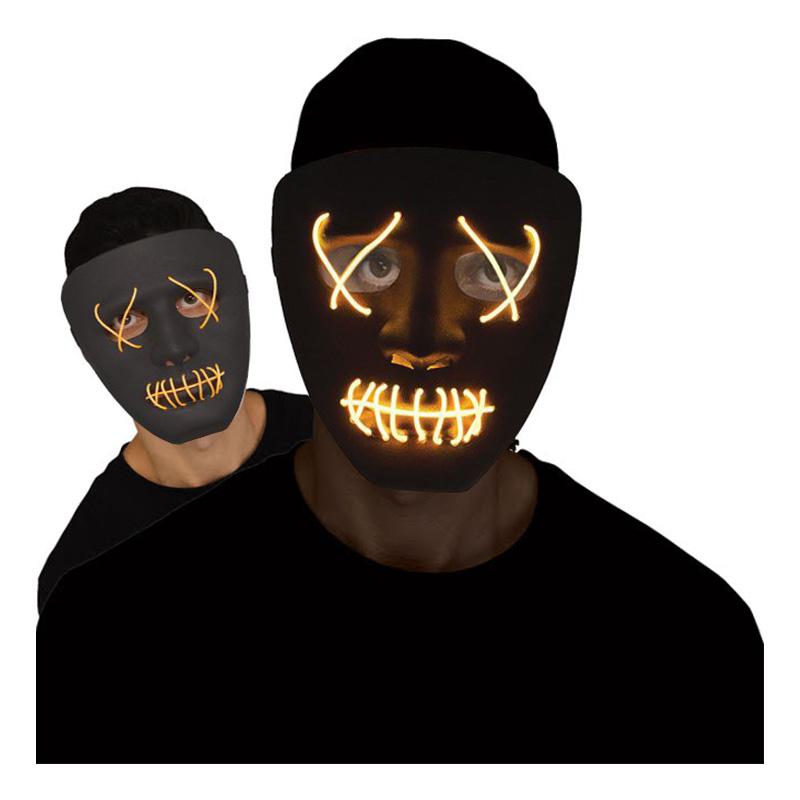 El Wire Stitches Svart/Gul LED Mask - One size