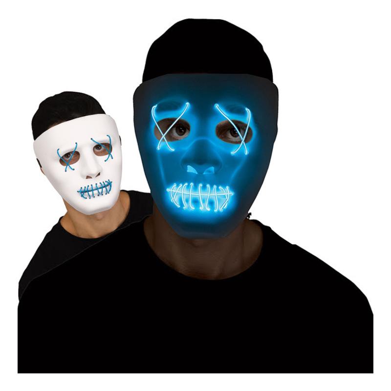 El Wire Stitches Vit/Blå LED Mask - One size