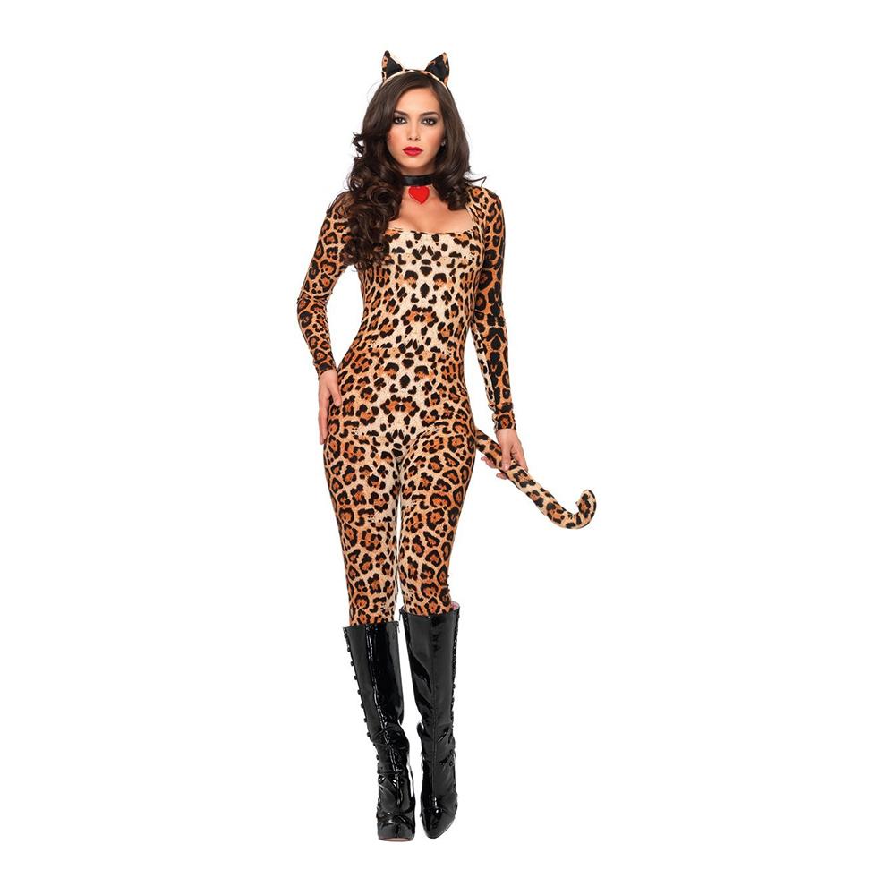 Maskeraddräkter - Leopard Catsuit Deluxe Maskeraddräkt - X-Small