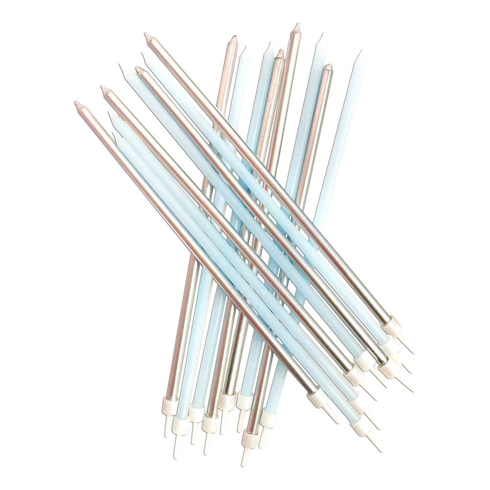 Ljus Långa med Hållare Pastellblå - 16-pack