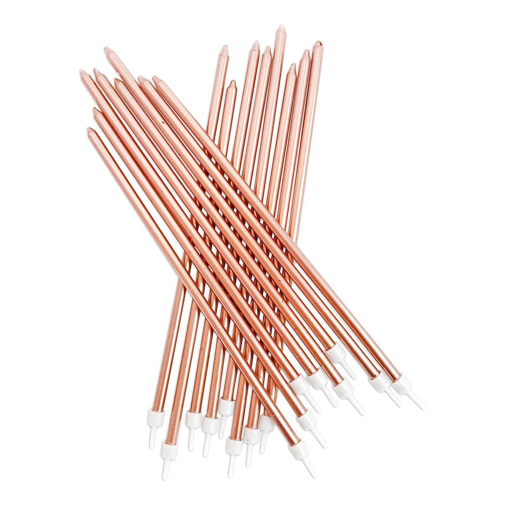 Ljus Långa med Hållare Roséguldmetallic - 16-pack