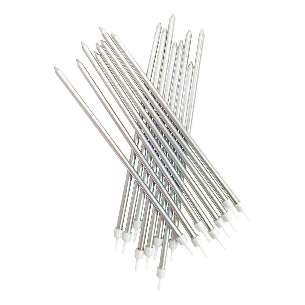 Ljus Långa med Hållare Silvermetallic - 16-pack