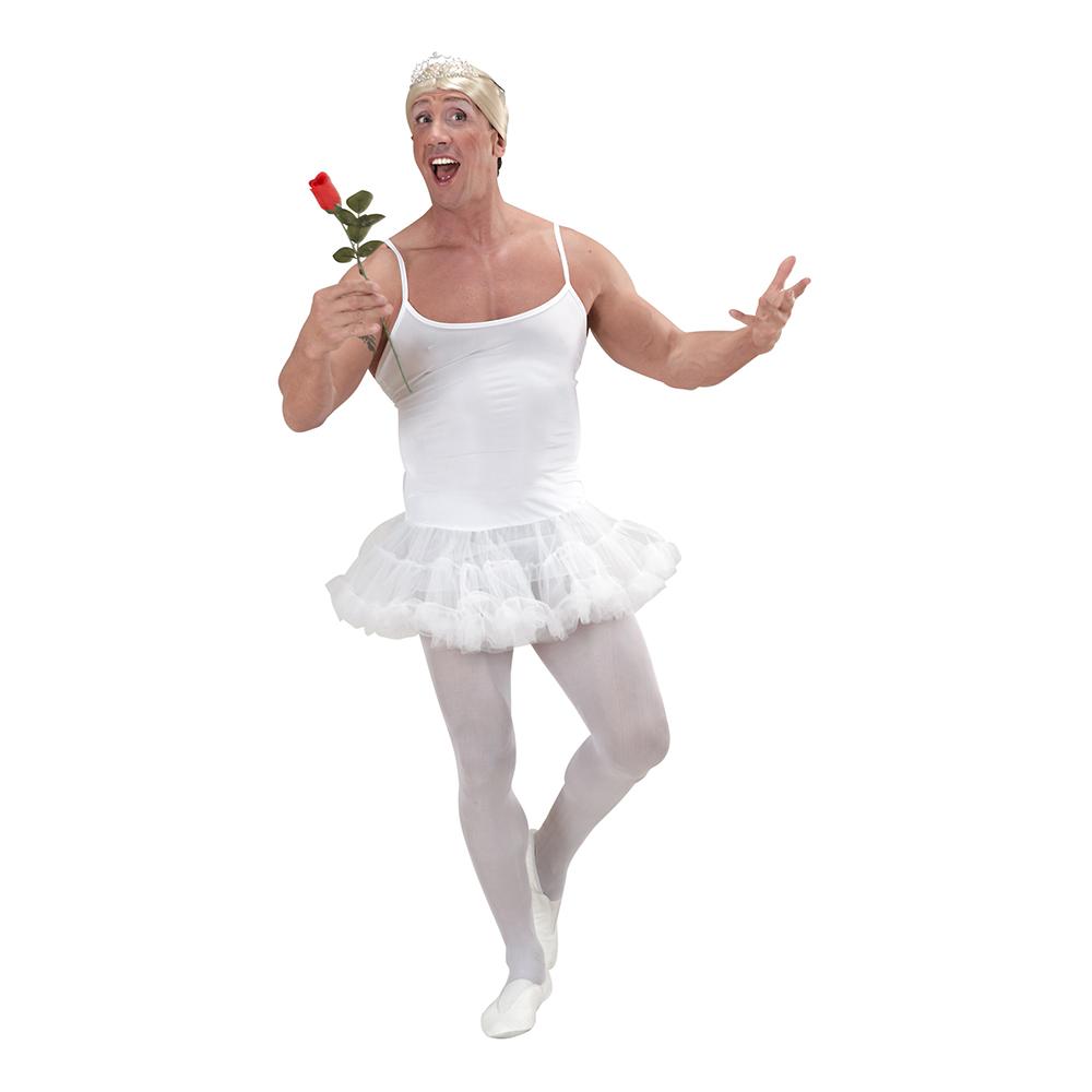 Manlig Ballerina Vit Maskeraddräkt - One size