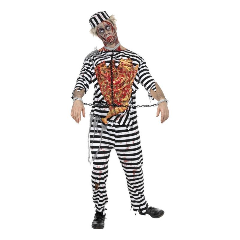 Manlig Zombie Fånge Maskeraddräkt - Medium