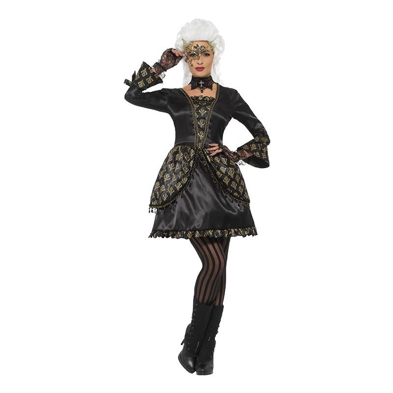 Halloween Maskeradbalsklänning Svart Maskeraddräkt - Large