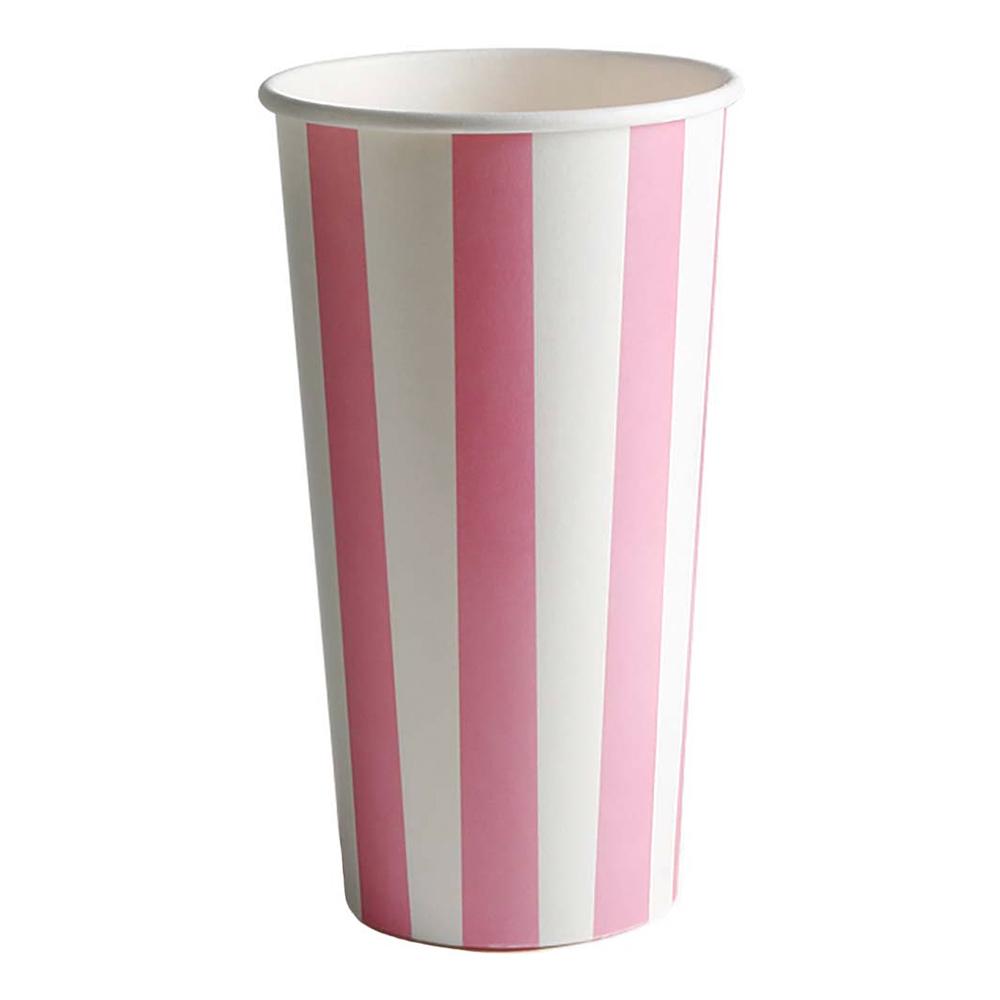 Milkshakemuggar Randiga Rosa - 50-pack