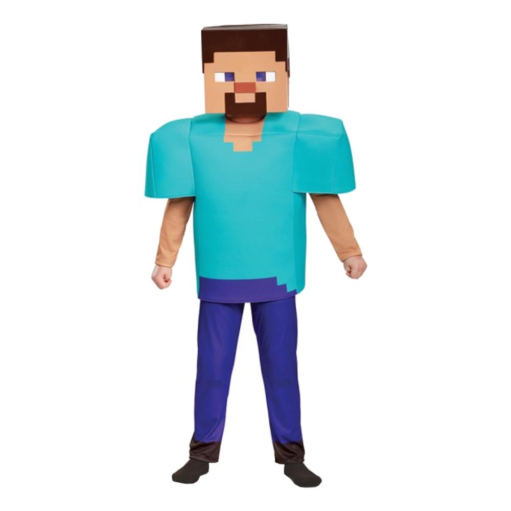 Utklädningsdräkter - Minecraft Steve Deluxe Barn Maskeraddräkt - Small