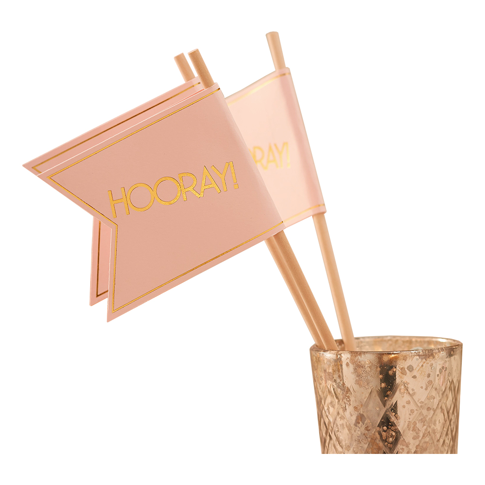 Miniflaggor Bröllop Guld/Rosa - 10-pack