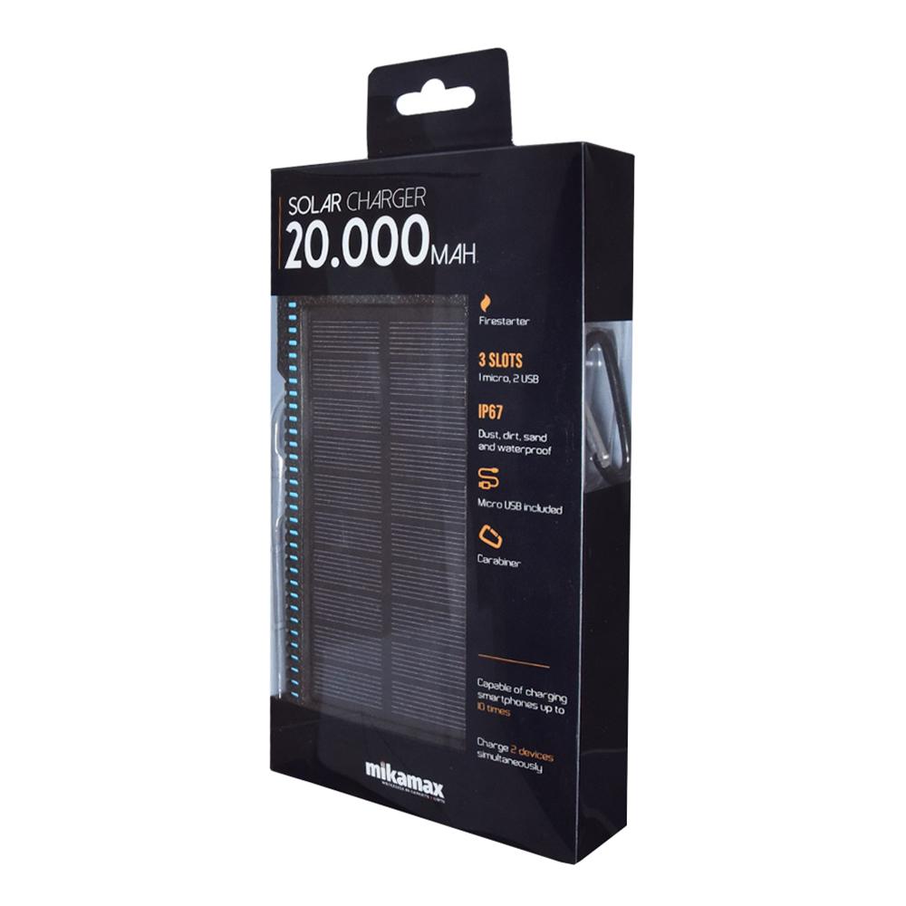 MM Powerbank med Solcellsladdare 20.000 mAh