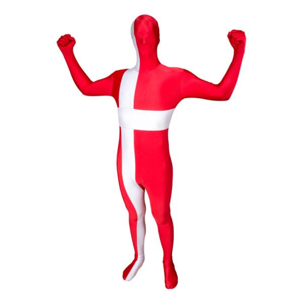 Morphsuit Danska Flaggan Maskeraddräkt - Medium