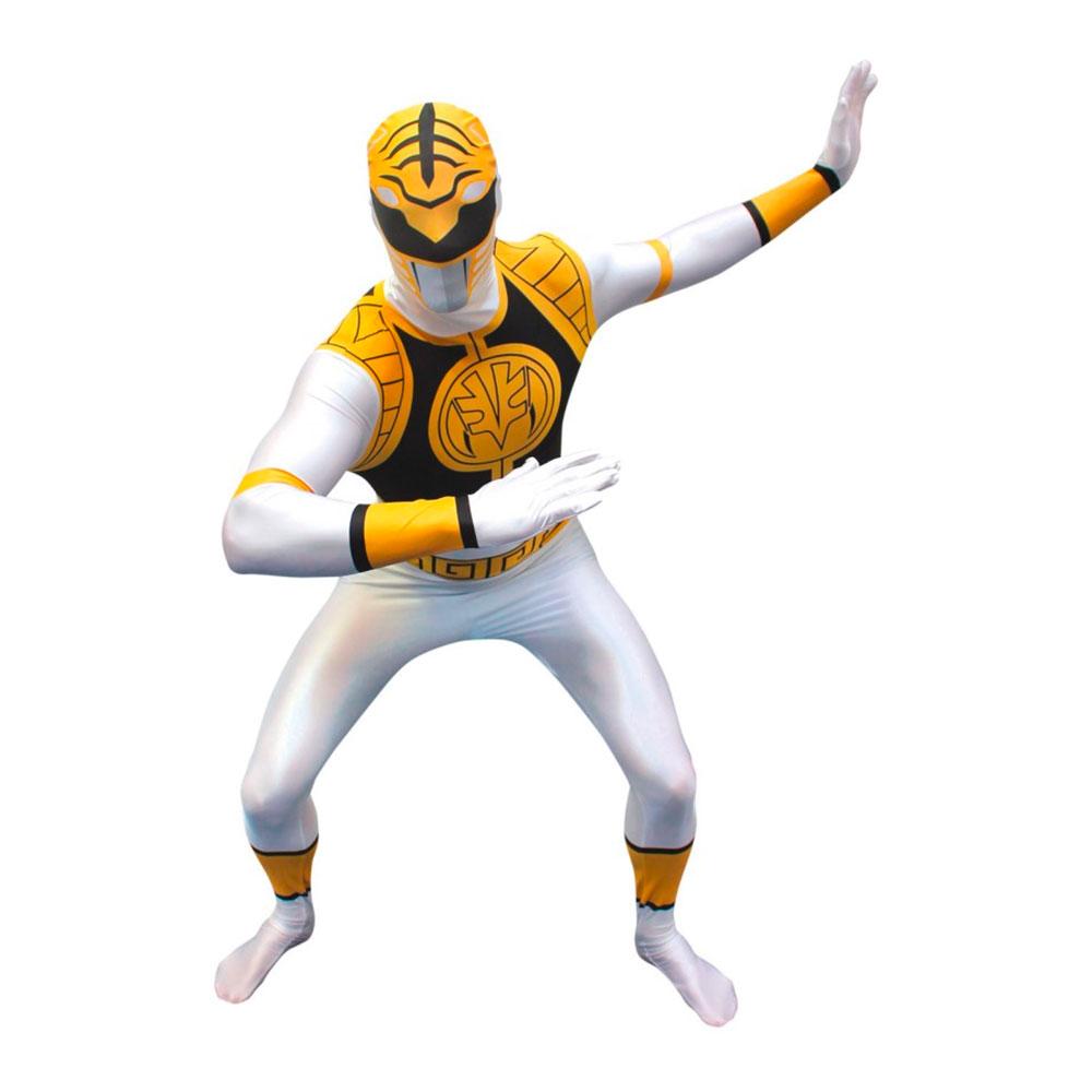 Morphsuit White Power Ranger Maskeraddräkt - Medium