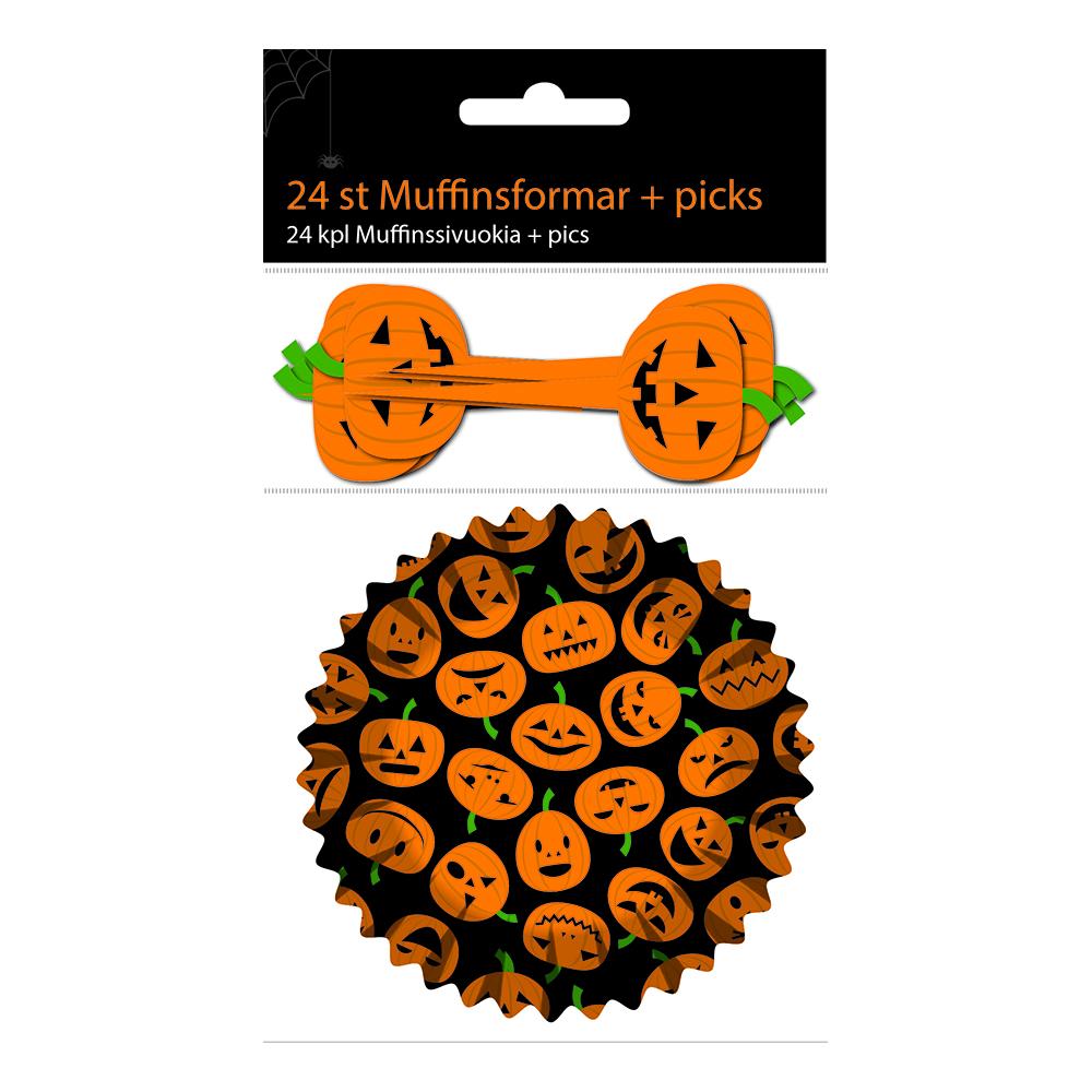 Muffinsformar Halloween med Picks - 24-pack