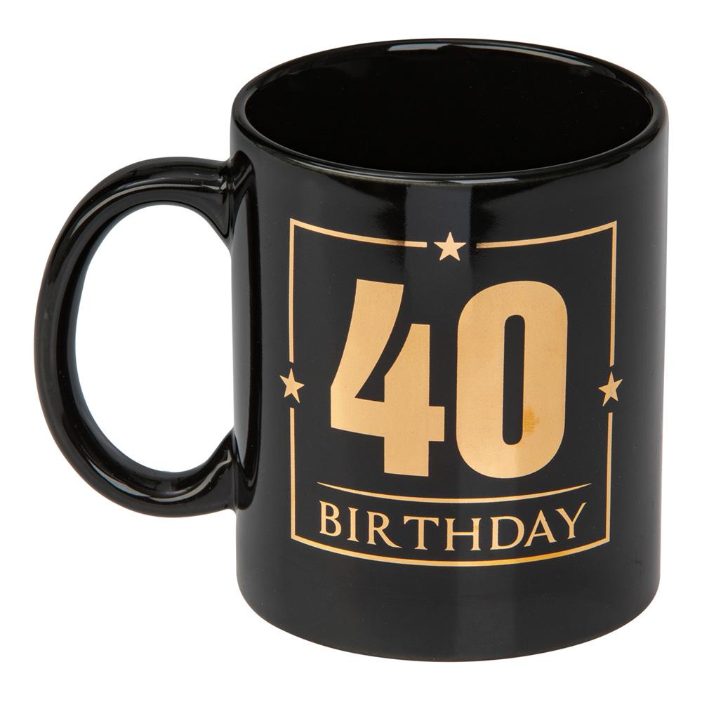 Mugg Svart 40 Birthday