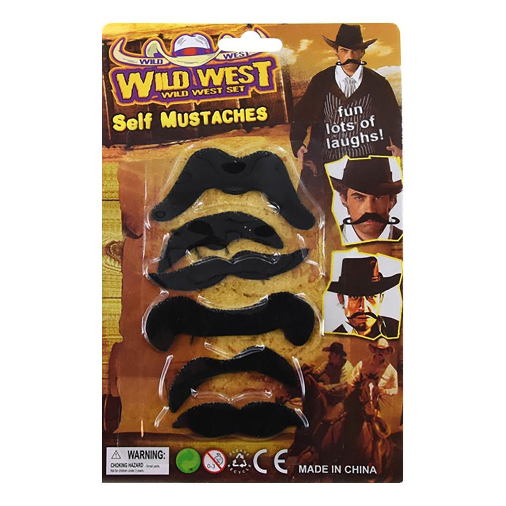 Mustaschset Vilda Västern - 6-pack