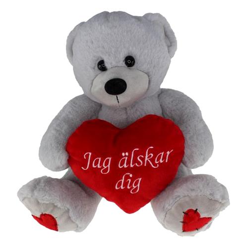 Nalle Grå med Hjärta Jag Älskar Dig - 38 cm