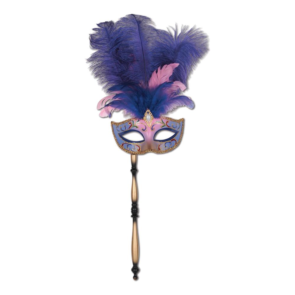 Ögonmask med Fjäder på Pinne Lila/Rosa - One size