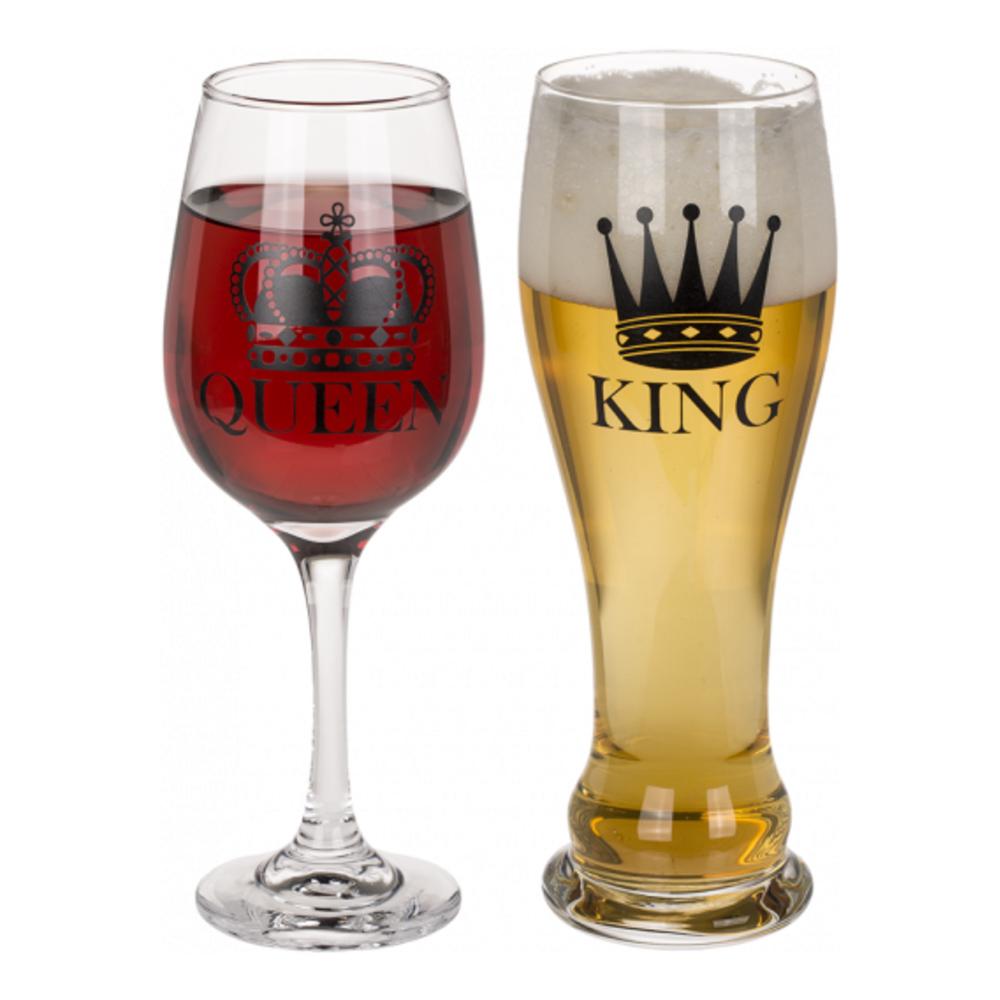 Öl- & Vinglas King & Queen - 2-pack
