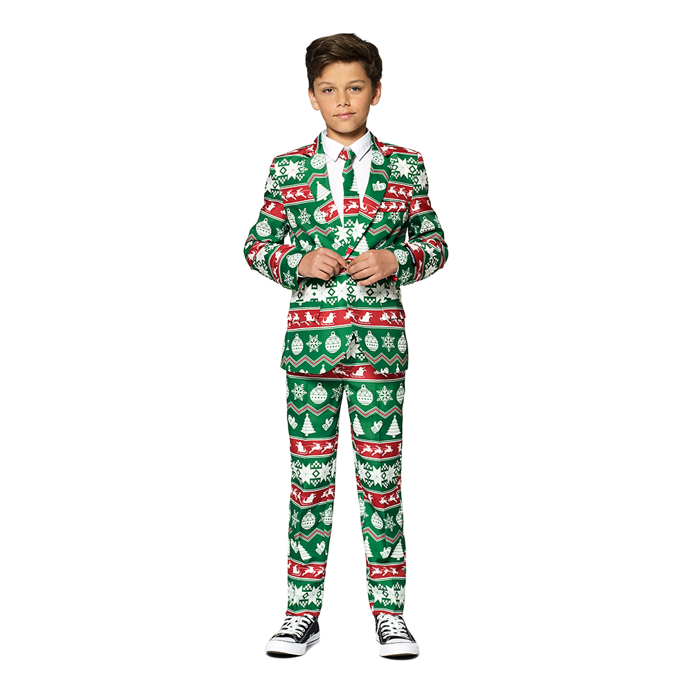 Opposuits Boys Christmas Green Nordic Kostym - 110/116