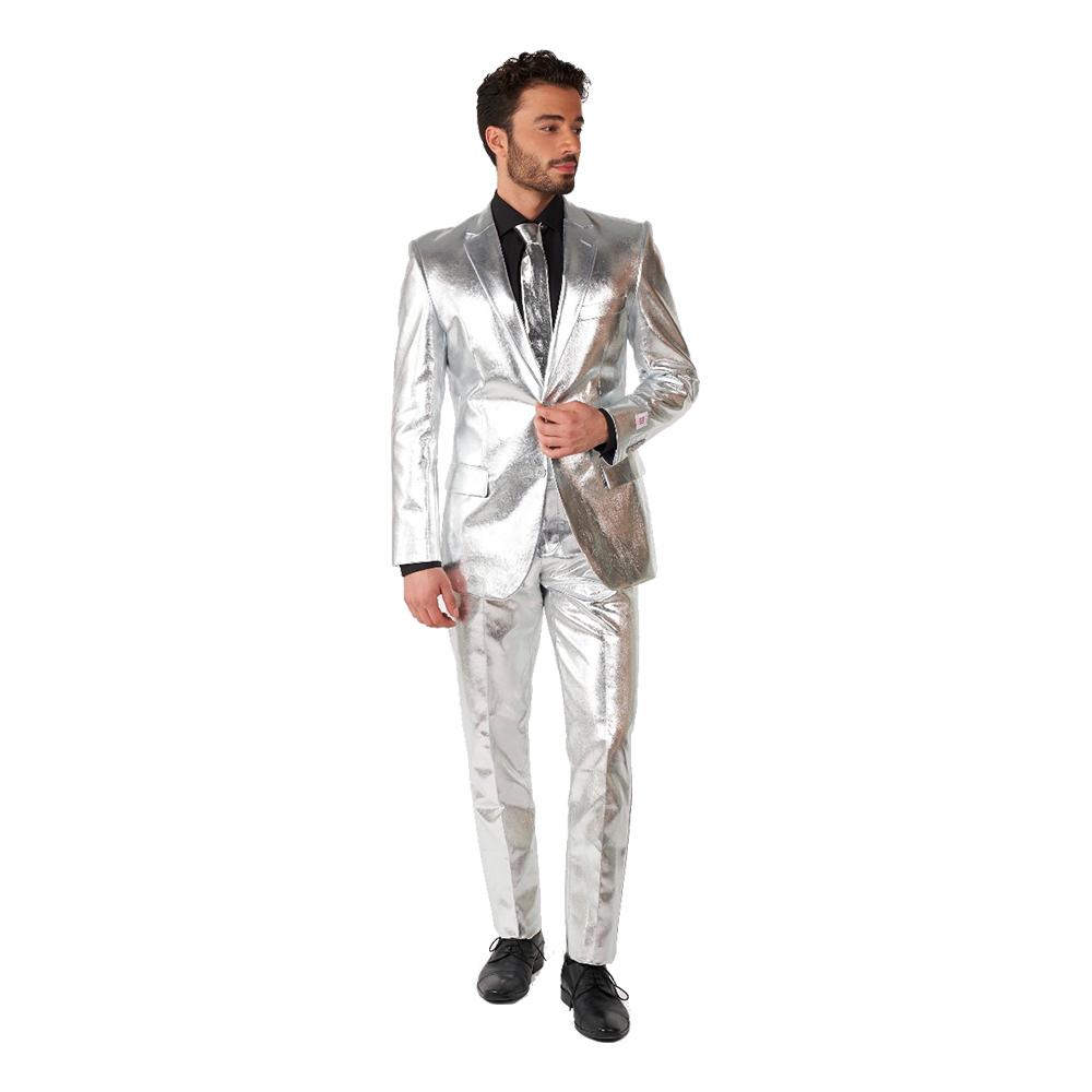OppoSuits Shiny Silver Kostym - 50