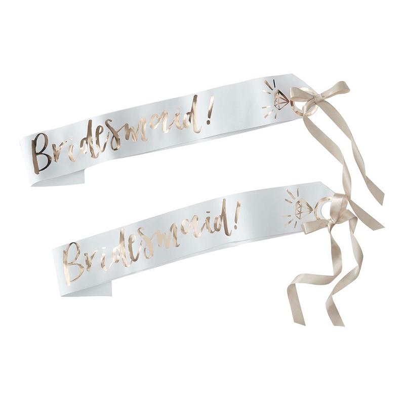 Ordensband Bridesmaid Vit/Guld - 2-pack