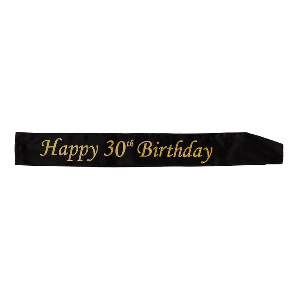 Ordensband Happy Birthday Svart/Guld - 30