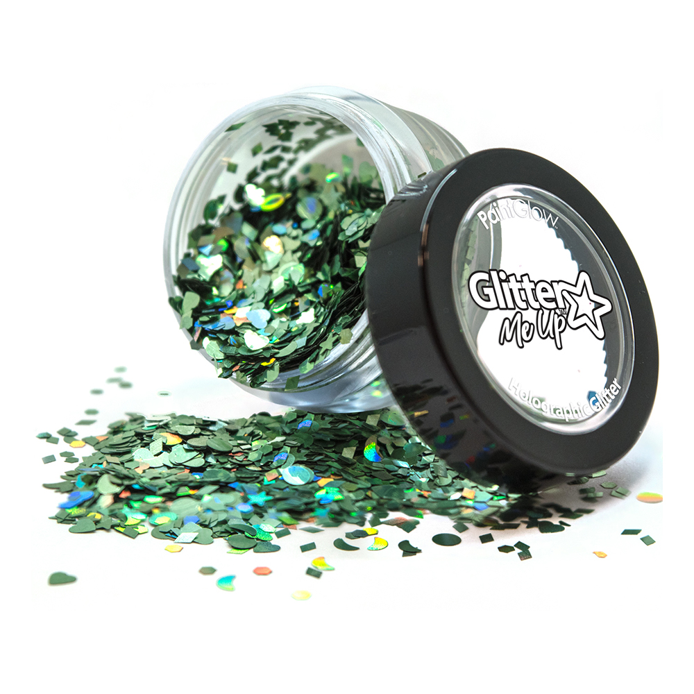 PaintGlow Holografisk Chunky Glitter Shapes - Green Envy