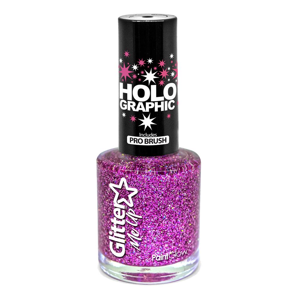 PaintGlow Holografisk Glitter Nagellack - Magenta
