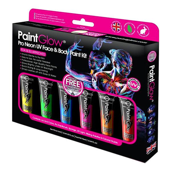 PaintGlow Pro UV Neon Ansikts- & Kroppsfärg Kit