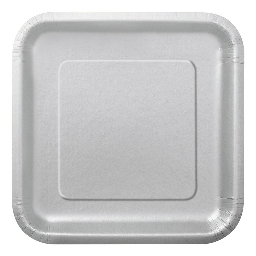 Pappersassietter Kvadrat Silver - 16-pack