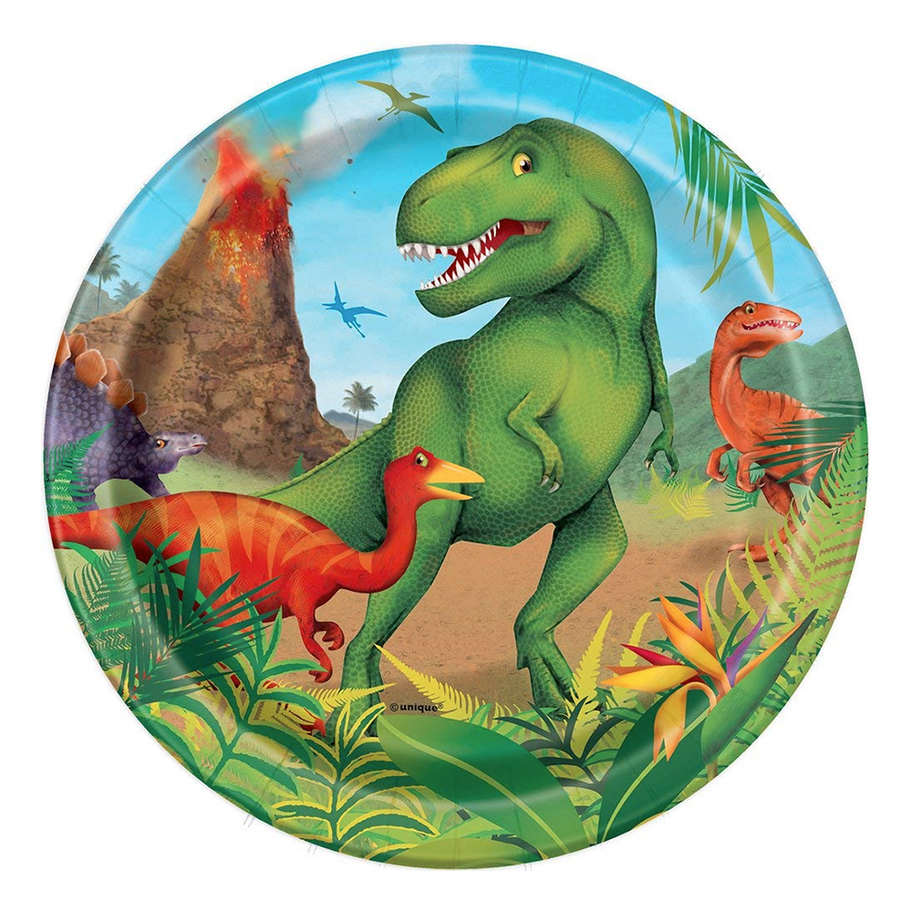 Dinosaurie - Pappersassietter Dinosaurie - 8-pack