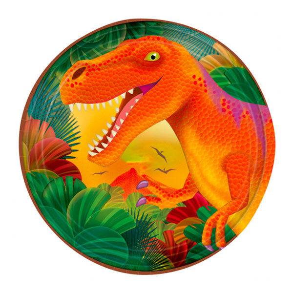 Dinosaurie - Pappersassietter Dinosaurier - 8-pack
