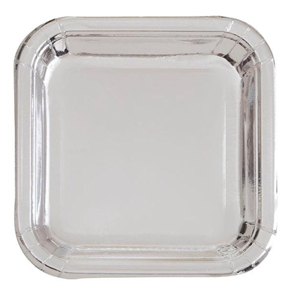 Pappersassietter Kvadrat Silver Metallic - 8-pack