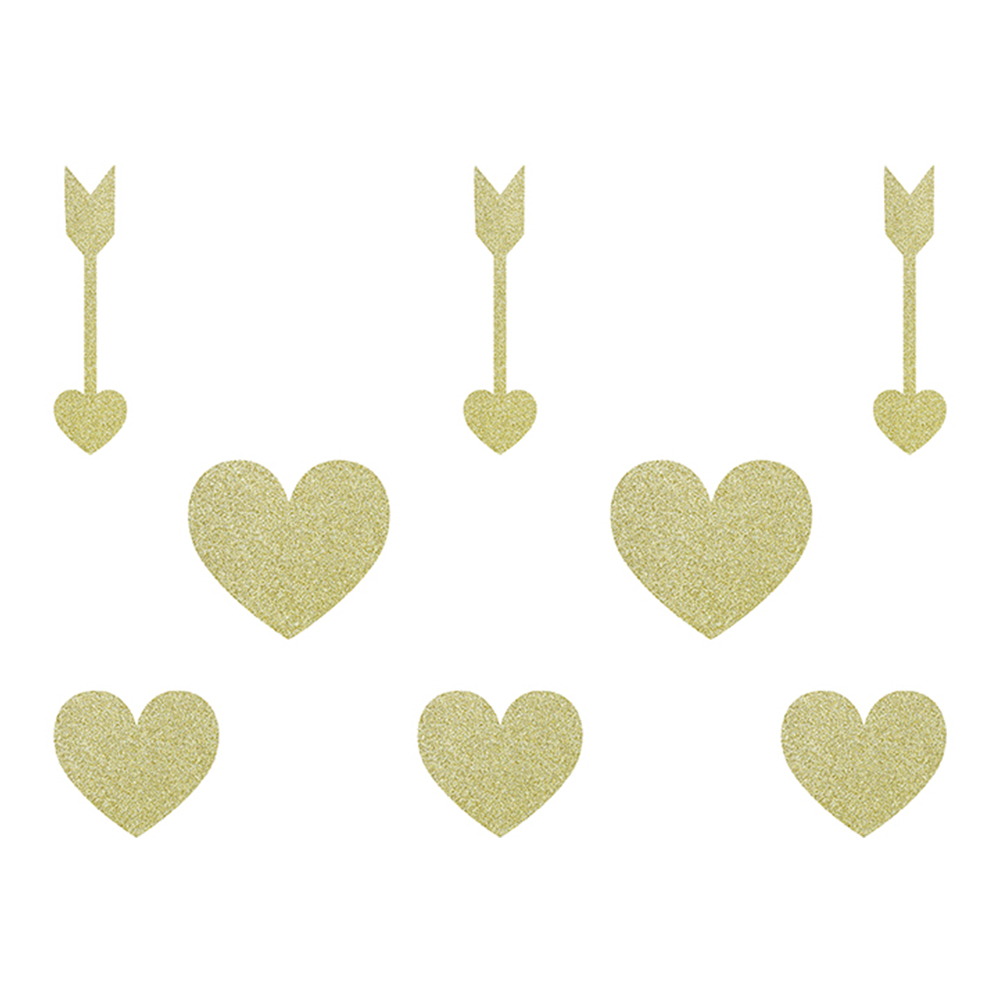 Pappersdekorationer Sweet Love Guld/Glitter - 8-pack
