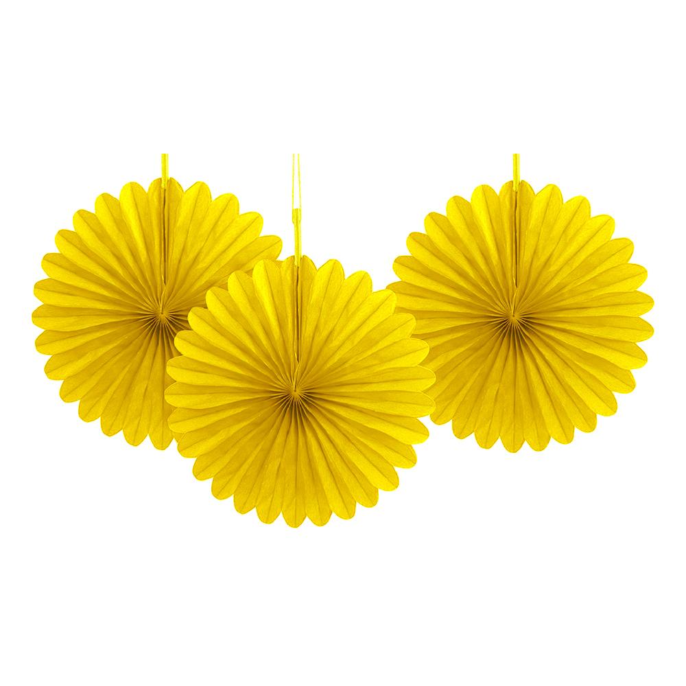 Pappersfjädrar Gula Mini Hängande Dekoration - 3-pack