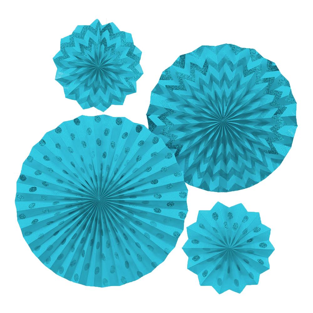 Pappersfjädrar Ljusblå Glitter - 4-pack