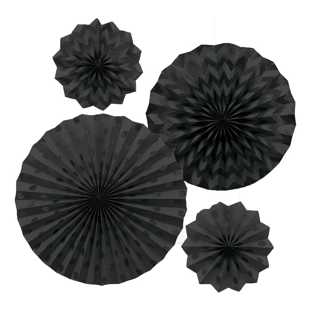 Pappersfjädrar Svarta Glitter - 4-pack
