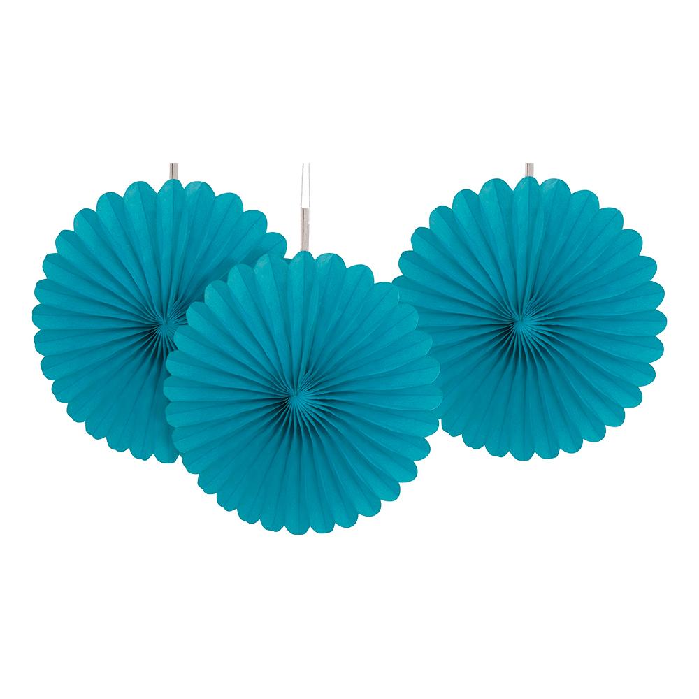 Pappersfjädrar Turkos Mini Hängande Dekoration - 3-pack