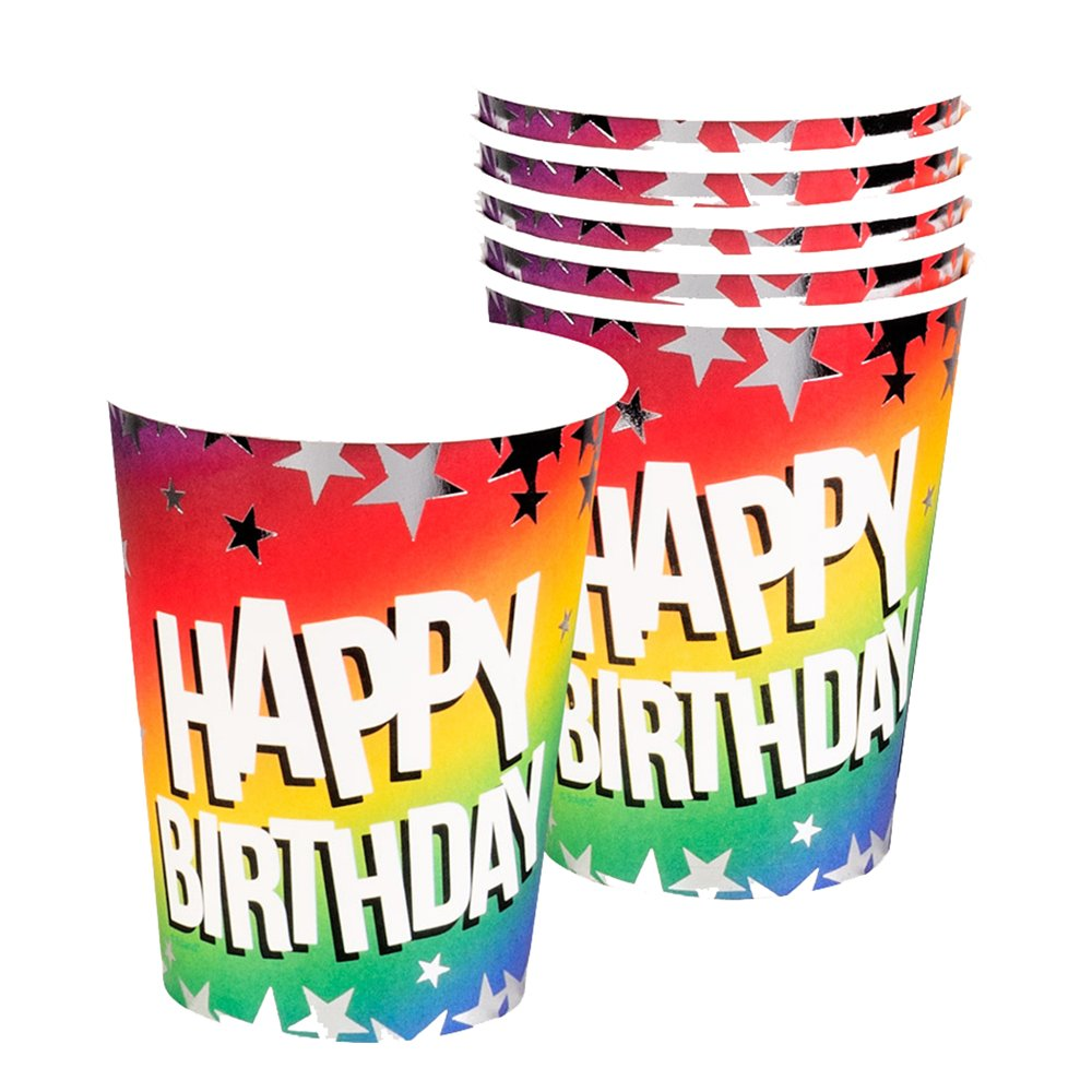Pappersmuggar Happy Birthday Stars - 6-pack