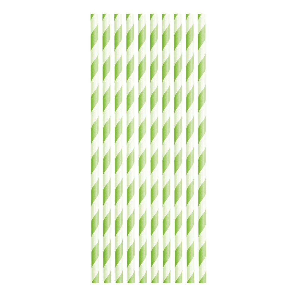 Papperssugrör Limegrön Randiga - 10-pack