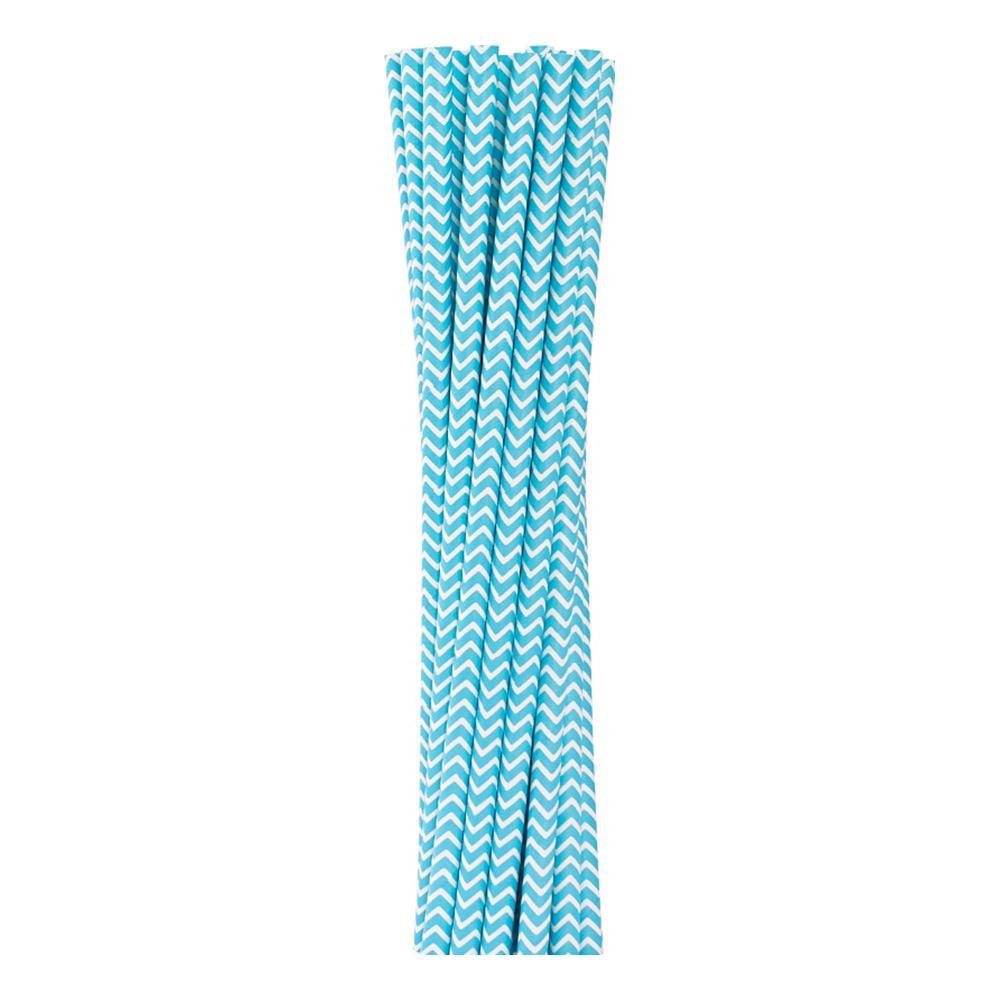 Papperssugrör Ljusblå Chevron - 12-pack