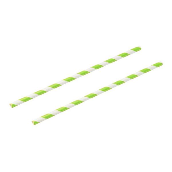 Papperssugrör Neongrön/Vit - 250-pack