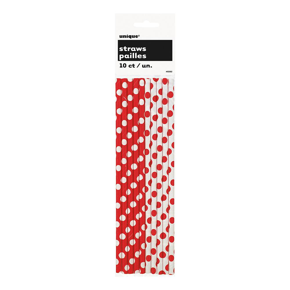 Papperssugrör Röd/Vita Prickiga - 10-pack