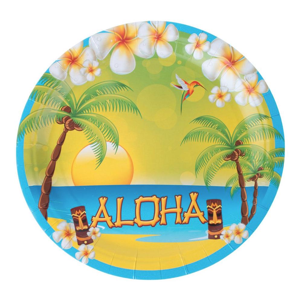 Papperstallrikar Aloha - 8-pack
